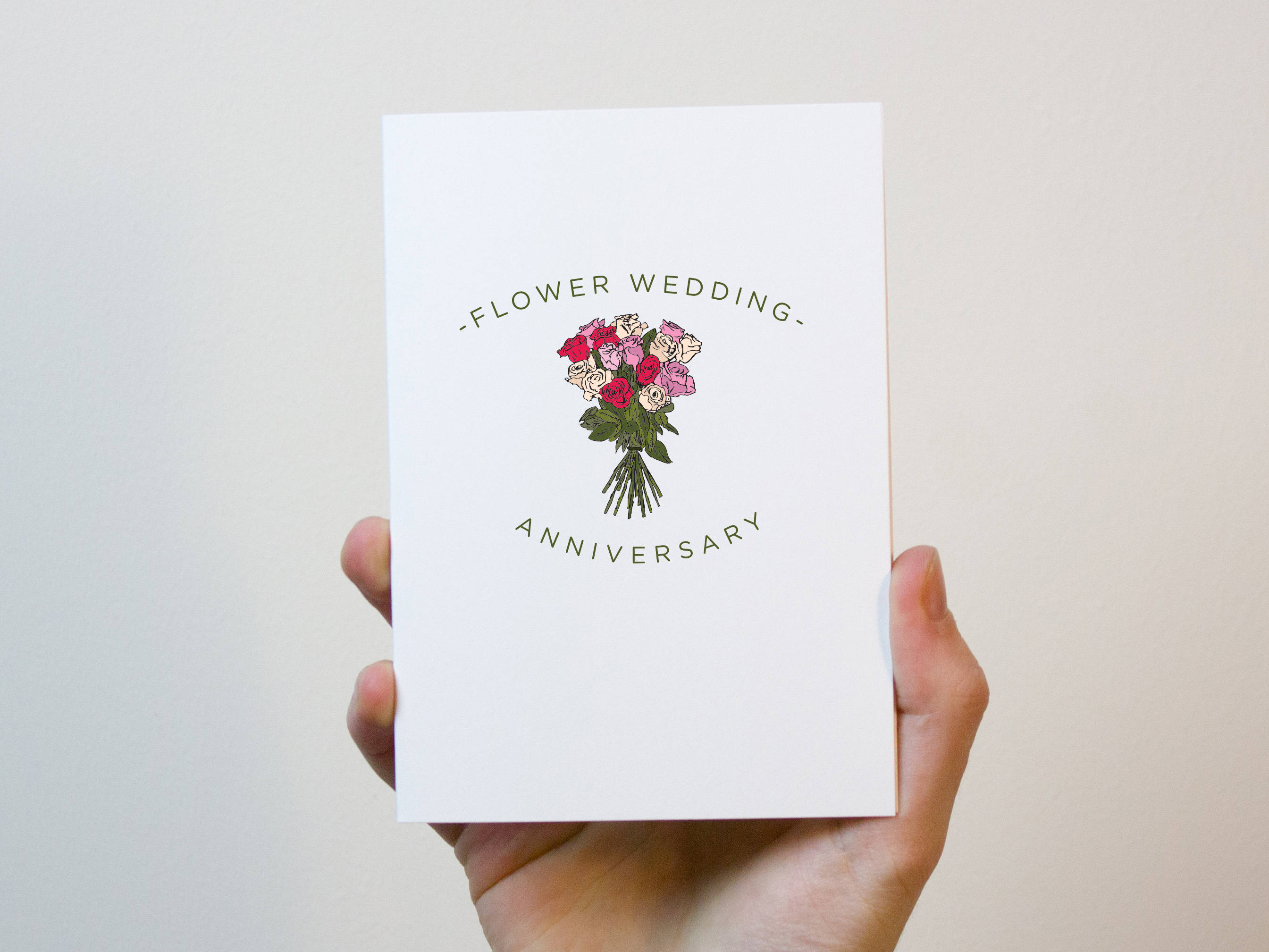 Flower Wedding Anniversary Card 4 Year Wedding Anniversary Card