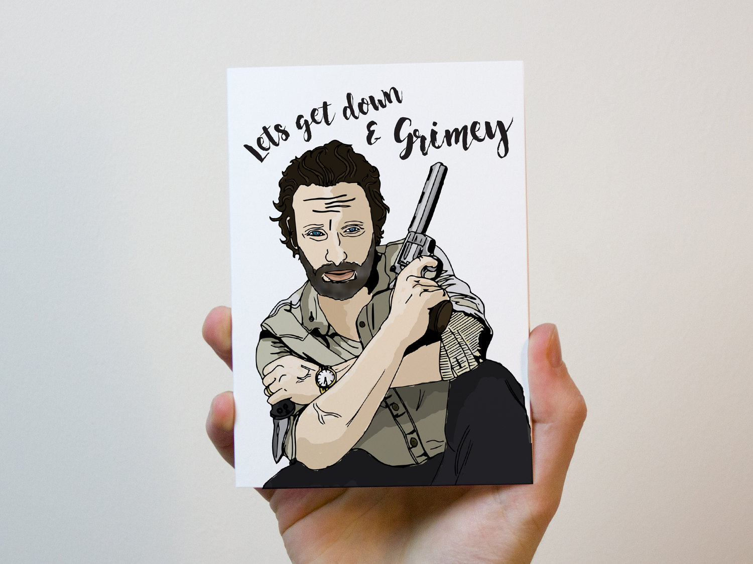 The Walking Dead Card | Lets Get Down And Grimey | Rick Grimes Valentines  Card